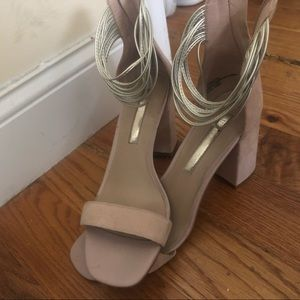 Tan/cream ankle-wrapped wedges